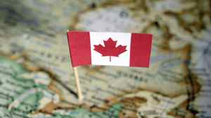 Canadian flag in map