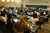 Students fill a lecture hall at York University.